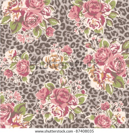 rose with leopard background