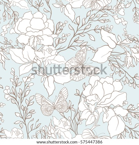 roses and butterflies seamless