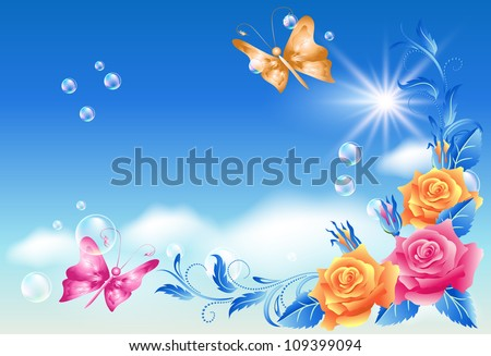 roses and butterfly in the sky