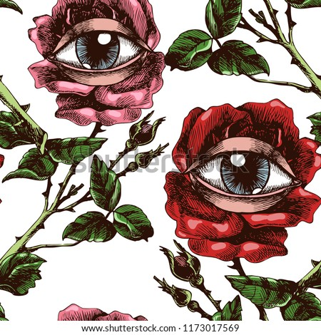 Roses and eyes. Hand-drawn vector surreal seamless pattern. Unusual symbolic drawing for your design.