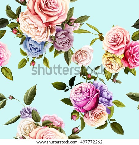 roses and peony with leaves