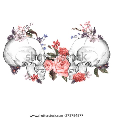 roses and skull  day of the