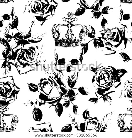 roses and skull grunge style