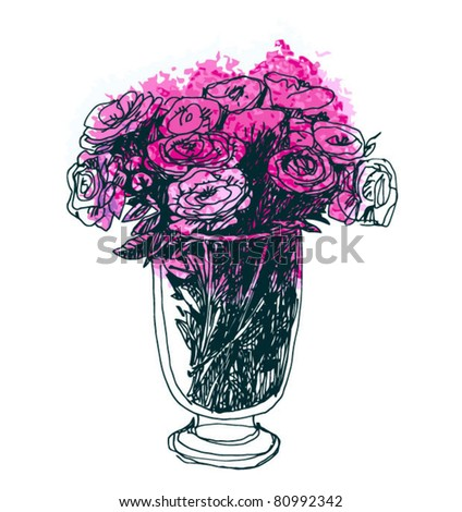 roses bouquet in big beauty glass vase. handmade image. - stock vector