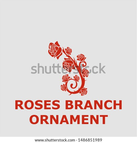 Roses branch ornament symbol. Outline roses branch ornament icon. Roses branch ornament vector illustration for graphic art.