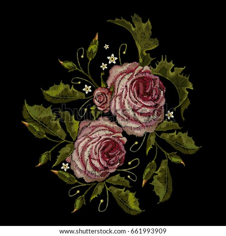 Roses embroidery. Classical embroidery buds of roses. Fashionable template for design of clothes, t-shirt design, blossoming bouquets of roses embroidery tapestry flowers renaissance style