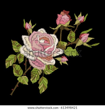 Roses embroidery on black background. Satin stitch imitation, vector.