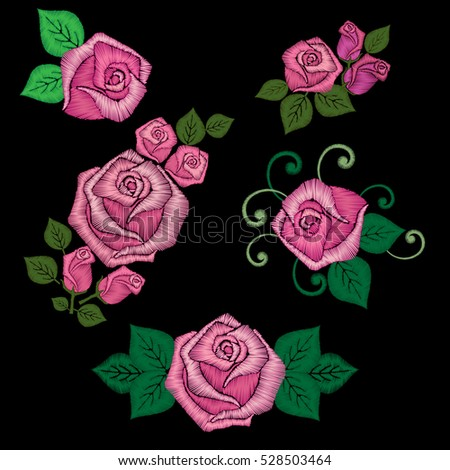 Roses embroidery set. Floral elements, pink flowers for decoration on black background. Satin stitch imitation, vector.