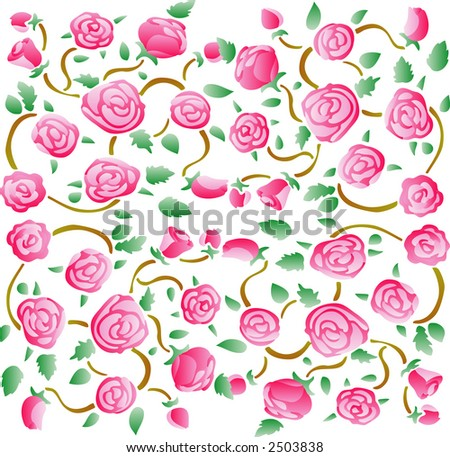 Roses fabric pattern 01 (Vector)