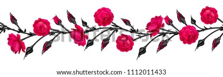 Roses. Flowers. Floral background. Seamless pattern. Petals. The stems. Vector illustration. Horizontal pattern. The black. Buds. Leaves. Red.