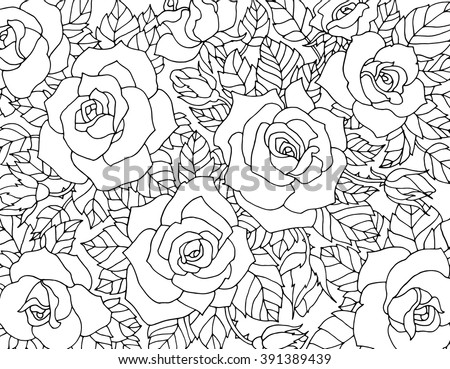 Rose flower vector background black and white download free vector roses flowers floral pattern background vector artwork coloring book page for adult mightylinksfo
