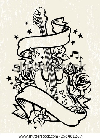roses guitar rock roll tattoo template stock vector 256481269 shutterstock. Black Bedroom Furniture Sets. Home Design Ideas