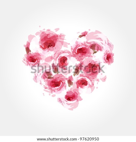 Roses in a shape of heart.  eps10