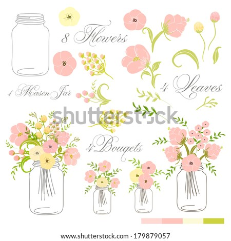 Roses In Mason Jars set