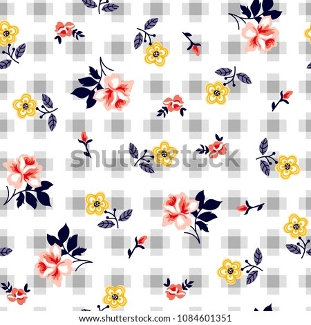 Roses pattern Decorative flowers with checkered pattern for textile print,fashion pattern
