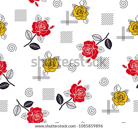 roses pattern yellow and red