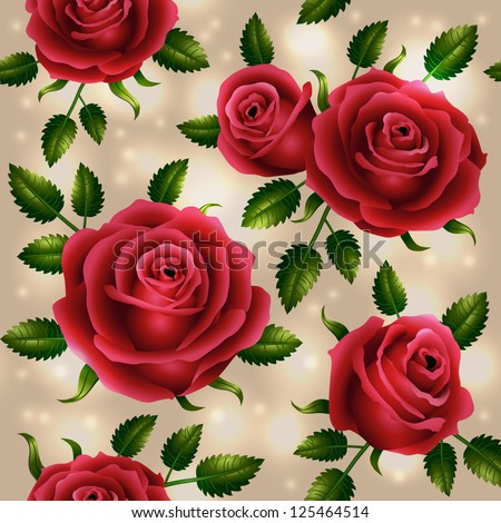 Roses seamless pattern - vector illustration.