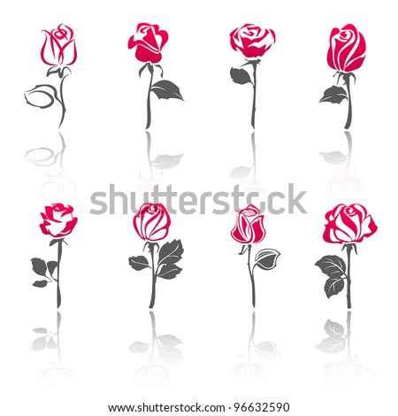 roses  set icons with reflection