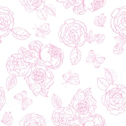 Roses Vector drawing of pink rose and butterflies. Hand sketch set. Line drawing and isolated on white background. Flowers and butterfly for background, texture, wrapper pattern, frame, etc.
