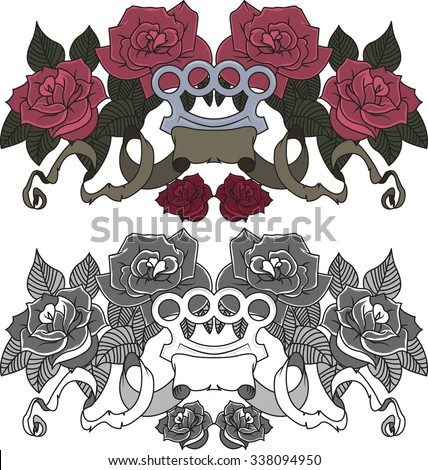 Roses with brass knuckle and ribbons