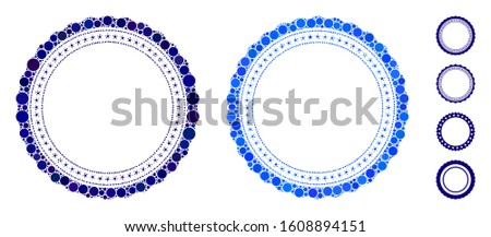 Rosette circular star frame composition of filled circles in different sizes and color tinges, based on rosette circular star frame icon. Vector filled circles are organized into blue collage.
