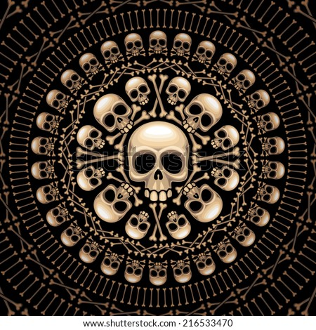 rosette consist of skulls and