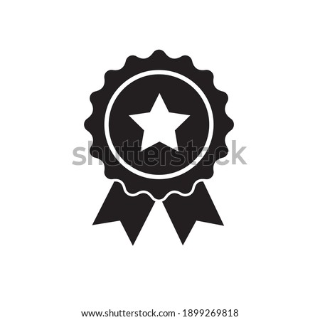 Rosette icon. Stamp premium quality with star icon isolated on white background. Vector illustration Stockfoto ©
