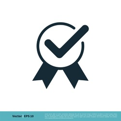 Rosette Ribbon, Check Mark Icon Vector Logo Template Illustration Design. Vector EPS 10.
