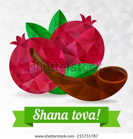 Rosh hashana card Jewish New Year Greeting text Shana tova on Hebrew Have a sweet year Pomegranate vector illustration