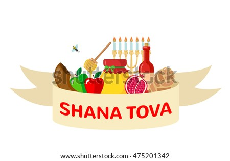 Flat rosh hashanah element vector download free vector art stock rosh hashanah greeting card in flat style shana tova or jewish new year symbols m4hsunfo