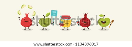 Rosh Hashanah Jewish holiday banner design with funny cartoon characters representing symbols of the holiday. Vector illustration design