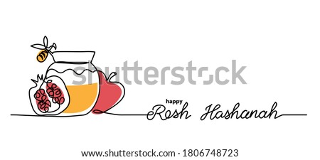 Rosh hashanah simple vector background with honey, apple, pomegranate and bee. One continuous line drawing with lettering happy Rosh hashanah.