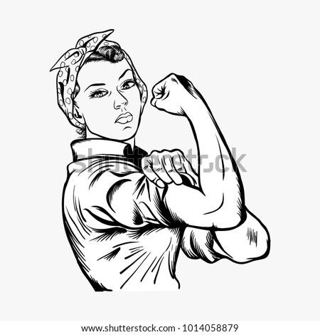 Rosie the riveter vector illustration - world women's day