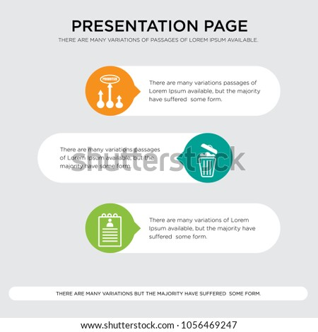 roster, waste management, prioritize presentation design template in orange, green, yellow colors with horizontal and rounded shapes