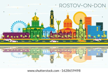 Rostov-on-Don Russia City Skyline with Color Buildings, Blue Sky and Reflections. Vector Illustration. Business and Tourism Concept with Modern Architecture. Rostov-on-Don Cityscape with Landmarks.