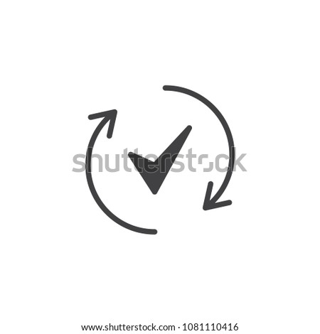 Rotate arrows and check mark vector icon. filled flat sign for mobile concept and web design. Done simple solid icon. Symbol, logo illustration. Pixel perfect vector graphics