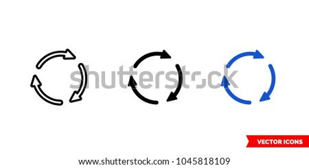 Rotate arrows icon of 3 types: color, black and white, outline. Isolated vector sign symbol.