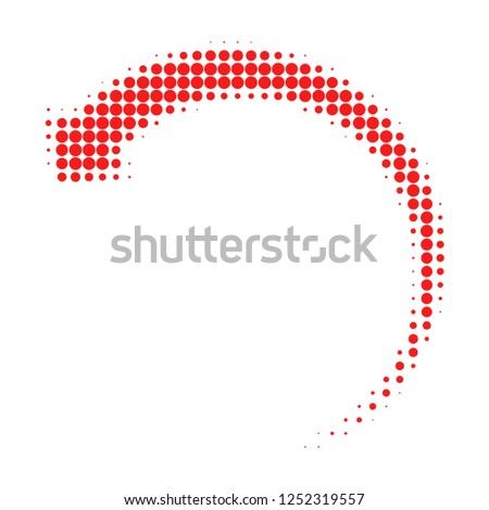 Rotate backward halftone dotted icon. Halftone pattern contains circle points. Vector illustration of rotate backward icon on a white background.