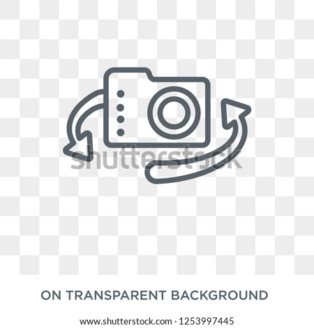 Rotate camera icon. Trendy flat vector Rotate camera icon on transparent background from Internet Security and Networking collection. High quality filled Rotate camera symbol use for web and mobile