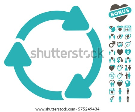 Rotate CW icon with bonus love symbols. Vector illustration style is flat rounded iconic grey and cyan symbols on white background.
