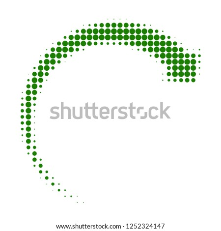 Rotate forward halftone dotted icon. Halftone array contains round elements. Vector illustration of rotate forward icon on a white background.