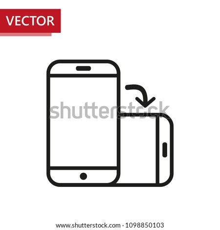 Rotate smartphone flat design icon. Outlined vector on white background. Change screen orientation from vertical to horizontal. Designed for mobile applications.