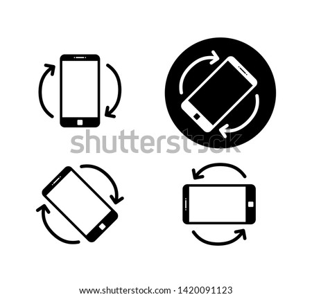 Rotate smartphone icon isolated. Mobile screen rotation. Horisontal or vertical rotation icons. EPS 10