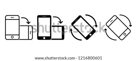 Rotate smartphone icon set in modern flat design isolated on white background, mobile vector illustration for web site or mobile app