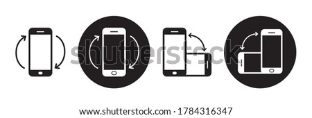 Rotate smartphone icon set. Mobile screen rotation. Horisontal rotation icons isolated on white background.