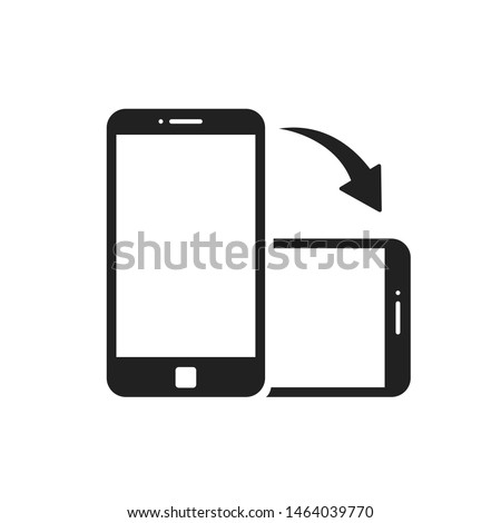 Rotate smartphone isolated icon. Device rotation symbol. Mobile screen horizontal and vertical turn. EPS 10