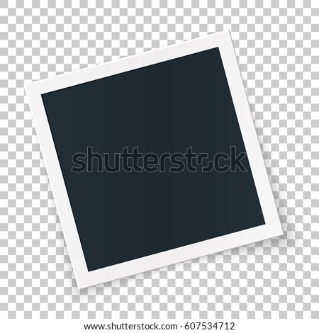 Rotated photo frame concept, single isolated object on transparent background. Vector detailed illustration edge for images and pictures. - Shutterstock ID 607534712