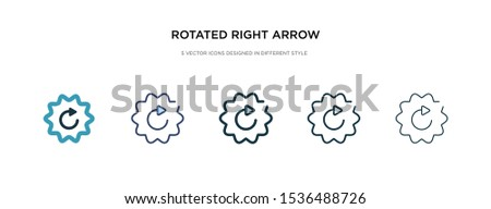 rotated right arrow icon in different style vector illustration. two colored and black rotated right arrow vector icons designed in filled, outline, line and stroke style can be used for web,