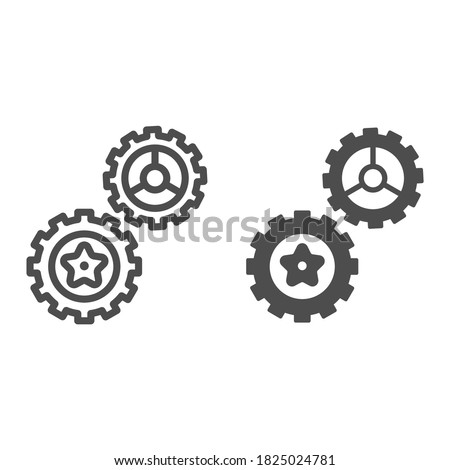 Rotating gears line and solid icon, technology concept, Cogwheel gear mechanism sign on white background, two gear wheels icon in outline style for mobile concept and web design. Vector graphics.