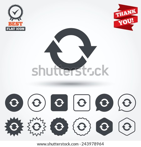 Rotation icon. Repeat symbol. Refresh sign. Circle, star, speech bubble and square buttons. Award medal with check mark. Thank you. Vector